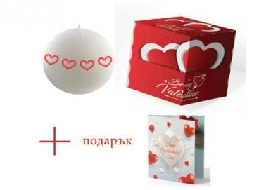 Подарете с любов! Ароматна свещ с декорация за Свети Валентин, кутийка и подарък: картичка от Хартиен свят! - Снимка