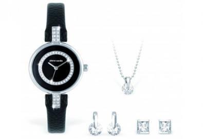 Стилен комплект Pierre Cardin - часовник, 2 чифта обеци и колие + безплатна доставка! - Снимка