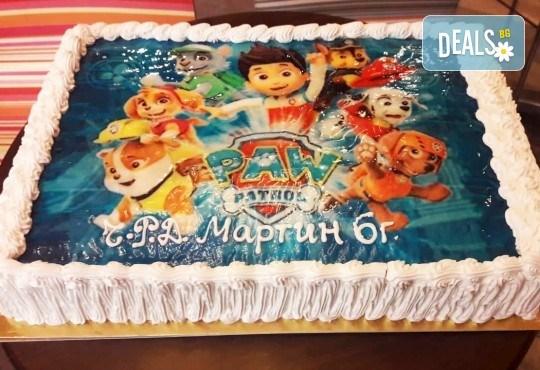 С доставка през април, май и юни! Голяма снимка: торта 25 или 30 парчета, със снимка А3 и пълно покритие на тортата от Сладкарница Джорджо Джани - Снимка 3