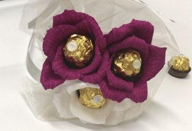 Стилен подарък за Свети Валентин! Шоколадов букет Purple Passion от Онлайн магазин за подаръци Банана! - Снимка