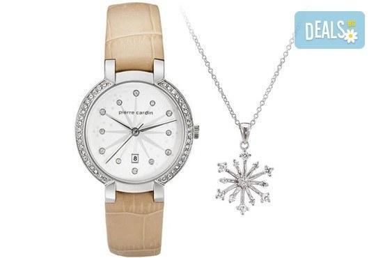Нежен подарък за любимата жена! Комплект колие със снежинка и часовник на Pierre Cardin + безплатна доставка! - Снимка 1