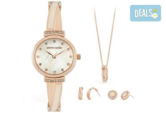 Романтика за празниците! Комплект часовник, колие и два чифта обеци на Pierre Cardin + безплатна доставка! - Снимка 1
