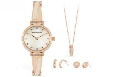 Романтика за празниците! Комплект часовник, колие и два чифта обеци на Pierre Cardin + безплатна доставка! - Снимка
