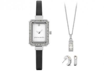 Комплект от правоъгълен часовник с кристали, чифт обеци и колие + безплатна доставка! - Снимка