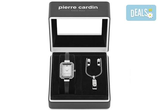 Комплект от правоъгълен часовник с кристали, чифт обеци и колие + безплатна доставка! - Снимка 2