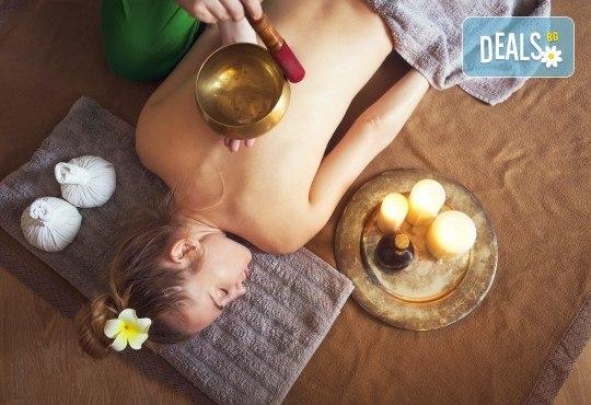 Блаженство за тялото и душата! 75-минутен терапевтичен масаж с тибетски пеещи купи в студио Giro! - Снимка 1