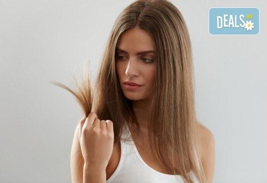 Високоефективна терапия за коса на Medavita с инфрачервена преса в 5 стъпки, подстригване и подсушаване при стилист-коафьор Елена Николова в салон Flowers 2 - Снимка 2