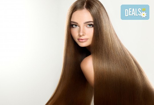 Високоефективна терапия за коса на Medavita с инфрачервена преса в 5 стъпки, подстригване и подсушаване при стилист-коафьор Елена Николова в салон Flowers 2 - Снимка 1