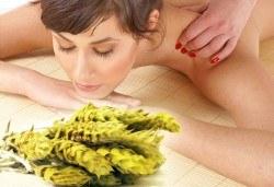 Подарете с любов! Болкоуспокояващ масаж на гръб или цяло тяло с мурсалски чай, терапия топло билково килимче, зонотерапия, чаша билков чай в Senses Massage & Recreation! - Снимка