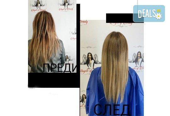 Интензивна заздравяваща арабска терапия с ултразвукова преса и арганово масло за силно изтощена коса + подстригване на връхчета и сешоар в Angels of Beauty, Студентски град! - Снимка 7
