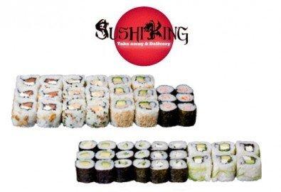 Насладете се на 45 вегетариански суши хапки със сирене Philadelphia, манго, авокадо, нори и японски сосове от Sushi King! - Снимка