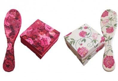 Дървена кутийка за бижута, изработена чрез техниката декупаж с парфюм Българска роза или изящна четка за коса от Хартиен свят! - Снимка