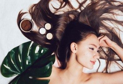 Масажно измиване с дълбоко възстановяващ и подхранващ шампоан, подстригване и прическа със сешоар в салон Bibi Fashion! - Снимка