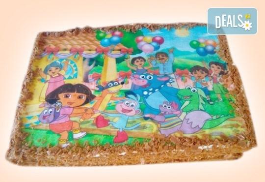 За рожден ден! Детска торта 16 парчета със снимка на любим герой, блат от мъфини, шоколадов крем и надпис пожелание от Muffin House! - Снимка 1