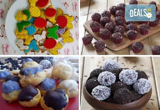 За децата! Сладък сет Детско партис 80 сладки асорти: цветенца, пеперуди или колички, шоколадови топки, мъфини, еклери с крем за детски рожден ден от Muffin House! - Снимка 1