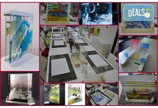 Еднодневен уъркшоп за рисуване върху стъкло - 3D картина, с включени бои и материали от Ателие Цветна магия! - Снимка 6