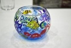 Уъркшоп на 24-ти юли за рисуване върху стъкло - свещник, в ателие Цветна магия! - Снимка