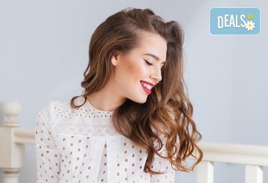 Масажно измиване с дълбоко възстановяващ и подхранващ шампоан, подстригване и оформяне на прическа със сешоар в салон Bibi Fashion! - Снимка 1
