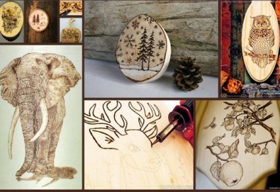 Рисуване с огън (пирогравюра) върху гривна или дъска + чаша бира или вино в ателие Цветна магия - Снимка