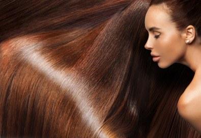Гладка и блестяща коса с трайно изправяне с арган във фризьоро-козметичен салон Вили! - Снимка