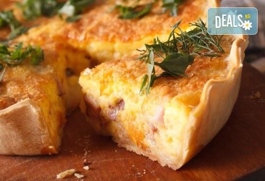 Вземете мини киш с френски сирена, сметана, зеленчуци и бекон - 15бр. в кутия от My Style Event! - Снимка 1