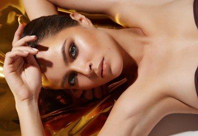 За красивата жена! СПА масаж Златен дъжд със златни частици и вулканични камъни, парафинова терапия за ръце, масаж на лице с RF, хиалурон или колаген и чаша бяло вино в Senses Massage & Recreation - Снимка