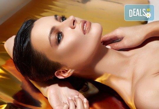 За красивата жена! СПА масаж Златен дъжд със златни частици, парафинова терапия за ръце, масаж на лице, хиалурон или колаген и чаша бяло вино в Senses Massage & Recreation - Снимка 1