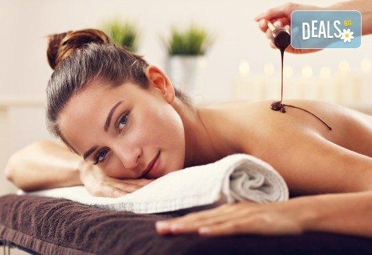 Дамски СПА релакс! Шоколадов релаксиращ масаж на цяло тяло, чаша бейлис и шоколадов комплимент в Senses Massage & Recreation! - Снимка 1