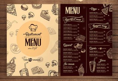 Изработка на меню за хотели, ресторанти и други, с включен дизайн, едностранен или двустранен печат, рамер А3 или А4, от Хартиен свят! - Снимка