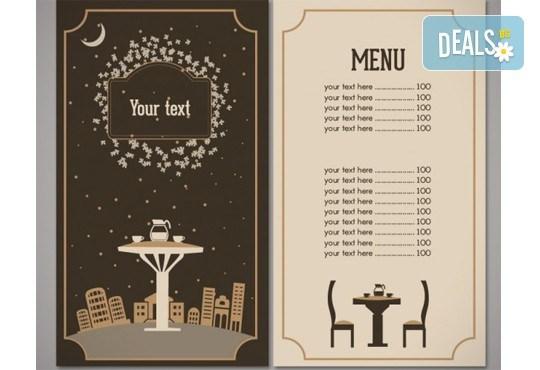 Изработка на меню за хотели, ресторанти и други, с включен дизайн, едностранен или двустранен печат, рамер А3 или А4, от Хартиен свят! - Снимка 3