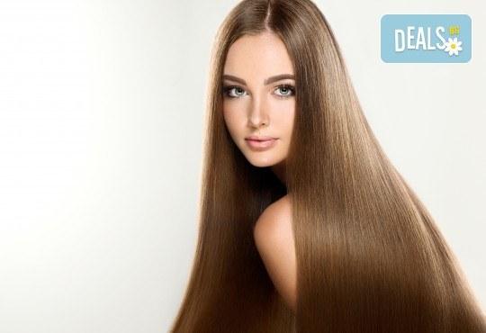 Гладка и блестяща коса! Ламиниране, масажно измиване и прав сешоар в салон за красота Diva - Снимка 1