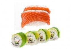 Насладете се на апетитен суши сет Кобе с 63 броя хапки със сьомга, филаделфия, ролца от раци и риба тон от Sushi King! - Снимка