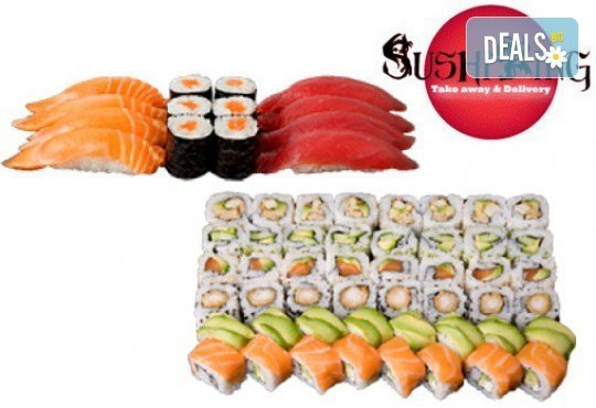Екзотичен суши сет Киото с 45 броя суши хапки със сьомга, скумрия, сурими и скарида от Sushi King! - Снимка 2