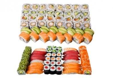 Апетитен Токио сет с 66 суши хапки със сьомга, пиле, сурими и вегетариански от Sushi King! - Снимка