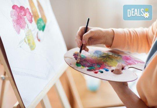 """""""Цветна Италия""""! 3 часа арт терапия за възрастни - рисуване с акварел под инструкциите на професионален художник с чаша вино и бутилка минерална вода в Пух арт студио! - Снимка 1"""