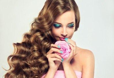 Поставяне на ред коса с капси с коса на клиента и подарък: оформяне със сешоар по избор от стилист на Салон Miss Beauty! - Снимка