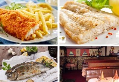 Средиземноморски круиз! Рибно плато: пресен сафрид, толстолоб, филе бяла риба пане, филенца сьомгова пъстърва, рибни рулца и пържени картофи в Ресторант 21 в Лозенец! - Снимка