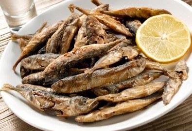 2 порции пресен сафрид с гарнитура пържени картофи и салата зеле с моркови в Ресторант 21 - Лозенец! - Снимка