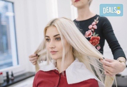 Съживете косата си! Диагностика от специалист, терапия за силно третирана и изтощена коса, полиране и сешоар във фризьоро-козметичен салон Вили! - Снимка 3