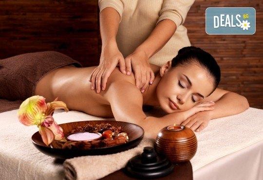 За пълен релакс! Ароматерапевтичен или дълбокотъканен масаж и пилинг на гръб + масаж на лице във фризьоро-козметичен салон Вили! - Снимка 1