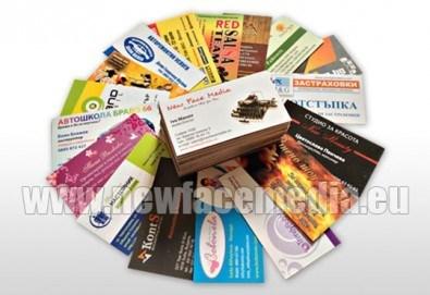 600 пълноцветни двустранни лукс визитки, 340 гр. картон + дизайн! Висококачествен печат от New Face Media! - Снимка