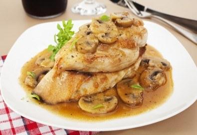 За един или за двама! Една или две порции свинско/пилешко бон филе с гъби печурки и чаша бяло вино Villa Yambol chardonnay в Ресторант 21 - Лозенец! - Снимка