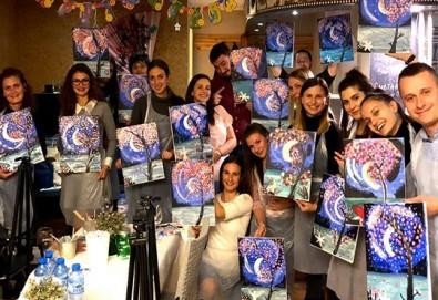 3 часа рисуване с напътствията на професионален художник + чаша вино в Арт ателие Багри и вино! - Снимка