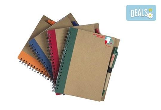Еко бележник с химикал с формат А5 и възможност за брандиране от Хартиен свят