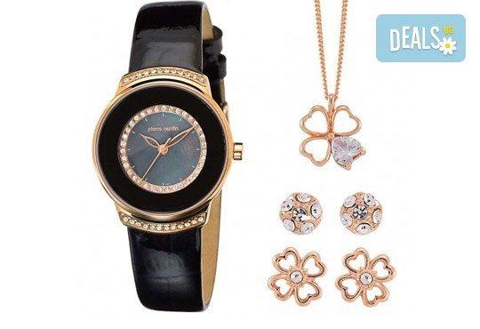 Pierre Cardin комплект с часовник, колие с детелина и два чифта обеци в розово злато - Снимка 1