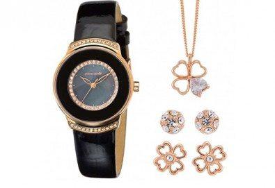 Pierre Cardin комплект с часовник, колие с детелина и два чифта обеци в розово злато - Снимка