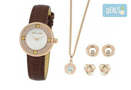 Комплект на Pierre Cardin с часовник, колие и два чифта обеци - Снимка 1