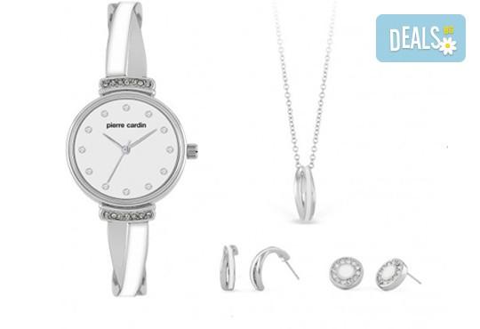 Pierre Cardin - комплект в сребристо с часовник, колие и 2 чифта обеци - Снимка 2
