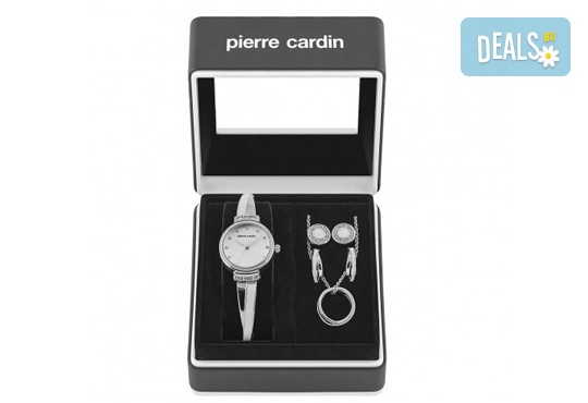 Pierre Cardin - комплект в сребристо с часовник, колие и 2 чифта обеци - Снимка 1