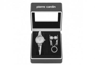 Pierre Cardin - комплект в сребристо с часовник, колие и 2 чифта обеци - Снимка